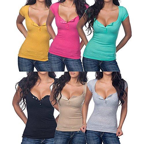 Deyou Womens Soft Fit Tee Henley Cou à Manches Courtes en Coton T-Shirts Gris