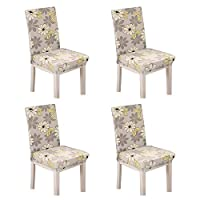 4PCS Stretch Short Removable Chair Seat Cover Slipcovers For Living Dining Room, Wedding Party Chair Covers Loveseat(Flower Pattern)