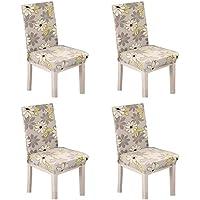 Fundas de sillas pack de 4 fundas sillas comedor fundas elásticas, Universal Lavable Extraíble cubiertas para sillas el comedor casero Modern Bouquet de la boda, Hotel, Decor Restaurante (Patrón de flores)
