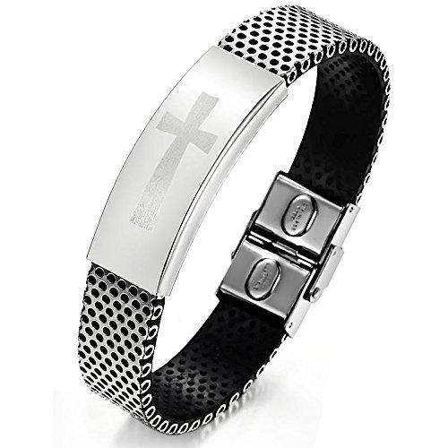 iLove EU Edelstahl Leder Armband Armreif Manschette Silber Schwarz Kruzifix Kreuz Mesh Netz Retro Herren (Leder Armband Schwarz Manschette)