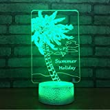 Best General Electric Christmas Trees - Fushoulu Coconut Tree Acrylic Night 3D Lamp Bedside Review