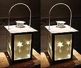 2er Set LED Laterne aus Metall mit Glas-Einsätzen   5 LEDs   Weihnachtsdeko