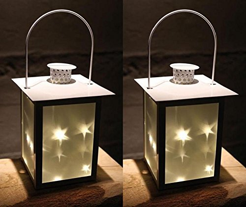 2er Set LED Laterne aus Metall mit Glas-Einsätzen | 5 LEDs | Weihnachtsdeko (Metall-sterne-haus)