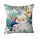 Moyun 'Tropical Rain Forest' Oiseaux Fleur Motif Coton Lin Home Decor Couvre-lit Taie d'oreiller Housse de coussin, Drap en coton, toucan, 18X18 inch