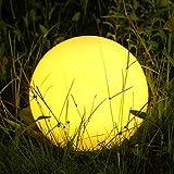 Albrillo RGB Luci Solari Esterno - LED Lampada Solare Esterno Diametro 30 cm con Telecomando, 8 Colori Regolabili, USB Ricaricabile, IP68 Impermeabile, Lampada Sfera Giardino per Piscina, Spiaggia