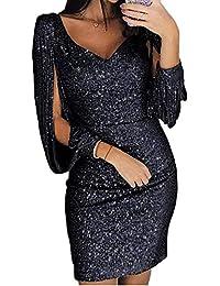 ORANDESIGNE Damen Abendkleider Sexy V-Ausschnitt Cocktailkleid Glänzend  Hoch Maxikleider für Hochzeit… e17027b39c