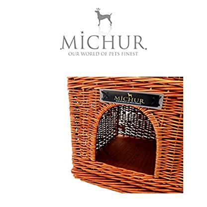 Michur Uncle Tom's Hut beige wicker house cave bed for dogs cats incl. Pillows 6