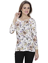 SVT ADA COLLECTIONS Poly Cotton Off-White with Multi Color Floral Printed Women TOP (021617Y_Multicolor_Medium)