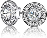 Mestige MSER3032 Women's Rhodium Plated Crystals Stud Earr