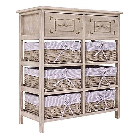 Rebecca Anrichte Nachttisch Holz Kommode Eingang Küche Wohnzimmer 6 Warenkorbe 2 Holz Schubladen Shabby Vintage Landhausstil Kode: RE4027