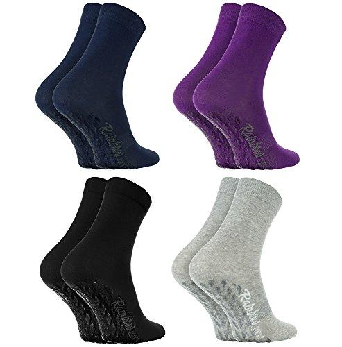Rainbow Socks 4 Paar Antirutschsocken by BAUMWOLLE Reich, ideal für: Glatte Fußböden, Yoga, Trampolinspringen| SCHWARZ VIOLETT GRAU BLAU 36-38, Oeko-Tex-Zertifikat, in EU produziert