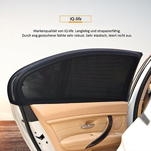 2x SONNENSCHUTZ fürs Auto von iQ-LIFE - mit UV Schutz für Kinder und Baby - Sonnenblende fürs Seitenfenster, Seitenscheibe - Universalgröße durch Dehnbarkeit - Sonnenschutzblende PKW KfZ