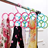Shopais Double Line Acrylic Hanger Plastic Ring Hanger For Scarf, Shawl, Tie, Belt, Closet Accessory Wardrobe Organizer (Assorted Color)
