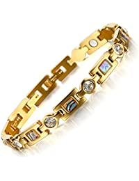 Rainso Womens Titanium Steel Golf Magnetic Therapy Bracelet Rhinestone Health Wristband with 3 Smart Buckle