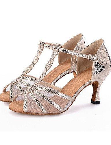 ShangYi Chaussures de Danse(Noir/Argent/Or) -Personnalisables-Talon Bobine-Similicuir-Ventre/Latine/Jazz/Moderne/Samba/Chaussures