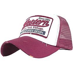 Fossen Verano Vintage Sombrero con Viseras Western Malla Gorras Beisbol Para Hombres Mujeres (Rosa caliente)