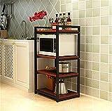 Udane ✌Zuhause Lager Gestell Küche Bodenregal Stahl Holz Mikrowelle Rack Multi-Layer-Ofen Rack Lagerregal Real Küche Guter Helfer 3 Schichten / 4 Schichten (Farbe: B) (Farbe : C)