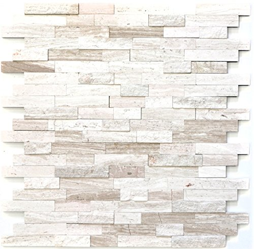 Naturstein Wand (Mosaik Fliese selbstklebend Marmor Naturstein grauweiß Naturstein white wood für WAND BAD WC KÜCHE FLIESENSPIEGEL THEKENVERKLEIDUNG BADEWANNENVERKLEIDUNG Mosaikmatte Mosaikplatte)
