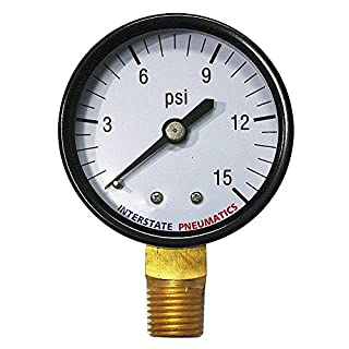 Interstate Pneumatics G2012-015 Pressure Gauge 15 PSI 2 Inch Diameter1/4 Inch NPT Bottom Mount