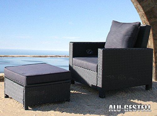5tlg. Rattan Set Schwarz Lounge Loungemöbel Gartenmöbel Rattanmöbel Gartensessel Tisch Hocker