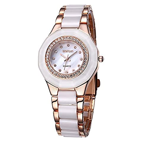 WEIQIN Alloy and Plastic Strap Womens Watch with Rhinestone Bezel and Rhinestone Scale Shell Surface Quartz (Rose gold White)