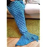 MKQPOWER Couverture queue de sirène chaude tricotée à la main pour adulte ou enfant 190x 90cm