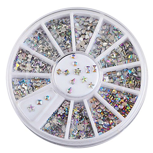 Sanwood Colorful Acryl Nail Art-Sticker Tipps glitzer Strass Nagel Dekorationen