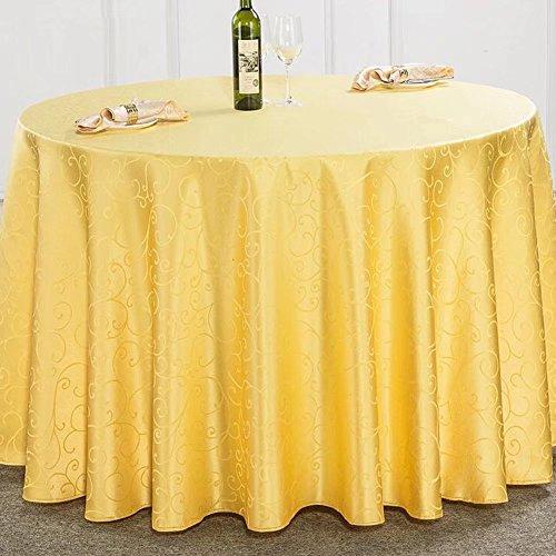 Rund Baumwolle Leinen Tischdecke Crochet Tisch Cover für Hochzeit Party, Leinen-Polyester, gold, 1,8 m