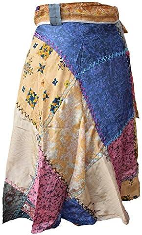 Little Kathmandu Wrap Around Sarong Patchwork Stitch Long Hippie Boho Skirt Small
