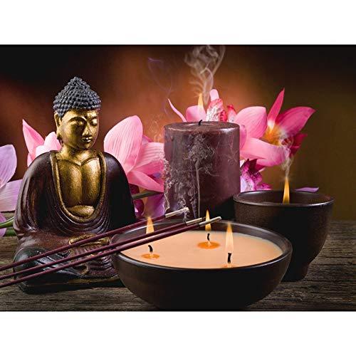 LEELIYA 5D Fai da Te Diamante Ricamo Buddha E Candele Diamante Pittura Punto Croce Pieno di Strass Mosaico Decorazione Regalo,45X60cm