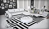 Eck-Sofa mit LED-Beleuchtung und Kunstleder Bezug weiß / schwarz 290x160 cm L-Form | Ocean | Moderne Sofa-Garnitur mit Recamiere | Design Polster-Couch für Wohnzimmer weiss / schwarz 290x 160cm