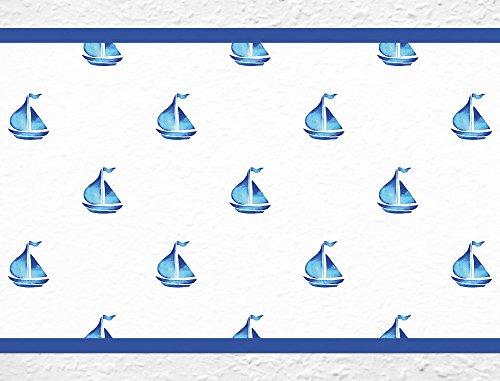 I-love-Wandtattoo b-10008 Kinderzimmer Bordüre 'Schiffe' Segelschiff Boote Kinder