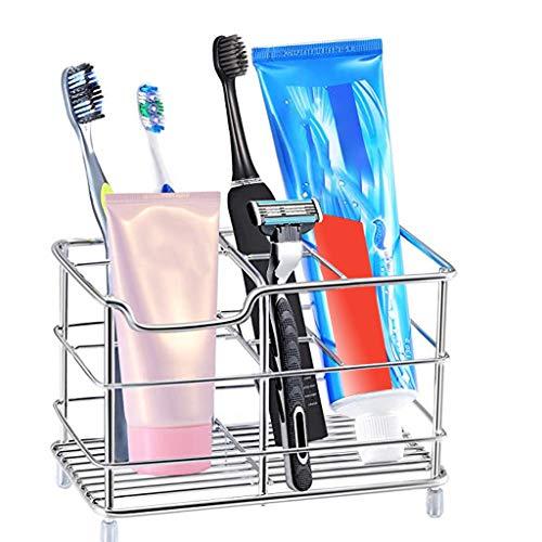 Ouneed - Zahnbürstenhalter Edelstahl 5 Fächer für Elektrische Kinderzahnbürsten/Aufsteckbürsten/Handzahnbürste/Nassrasierer mit Rutschfesten Gummifüßen