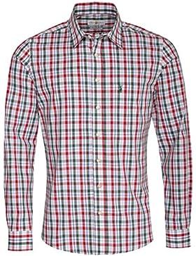 Almsach Trachtenhemd Horst Slim Fit Zweifarbig in Rot und Dunkelgrün Inklusive Volksfestfinder