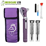 ADS Medicare Mini Otoscope ENT Optical Fibre LED Illumination Medical Diagnostic Examination CE Approved (Purple)