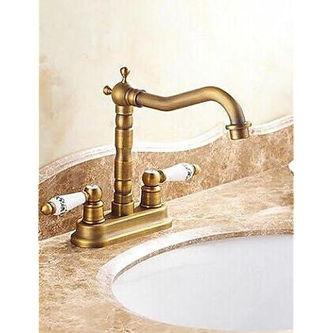 Antico 4 pollici centerset Due maniglie cromate lavandino rubinetto del