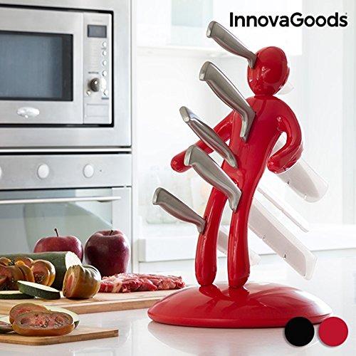 InnovaGoods Juego de Cuchillos, Acero Inoxidable, Rojo, 19.5x37.5x28.5 cm, 6 Unidades