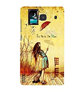 Omnam Girl With Umbrella And Saying Fly Me To The Moon Printed Designer Back Cover Case For Xiomi Redmi Note 2