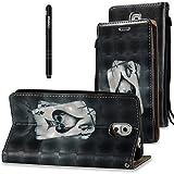 Slynmax Leder Tasche Schutzhülle für Samsung Galaxy Note 3 Flip Wallet Case Hülle Brieftasche Lederhülle im Bookstyle Slim Ledertasche Handyhülle Shell Ständer Karten Slot Magnetverschluss,Schwarz