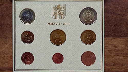 "Preisvergleich Produktbild * Vatikan Original Euro Kursmünzensatz 2017 BU / Stempelglanz 1 Cent bis 2 Euro im Blister mit neuen Motiven ""Papstwappen"""