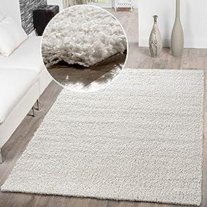 T&T Design Shaggy Teppich Hochflor Langflor Teppiche Wohnzimmer Preishammer versch. Farben, Größe:70x140 cm, Farbe:Creme