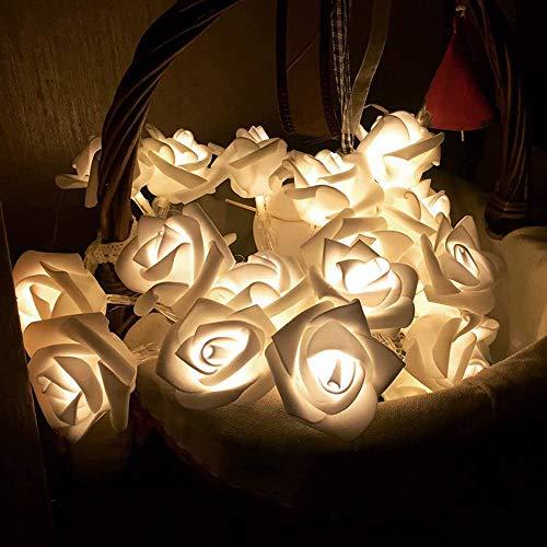 efanr Romantic Rose Design 20LED Lichterkette Lichterkette Ornament Lampe Weihnachten Hochzeit Decor Ambient Beleuchtung Party Night Romantische Laterne für Patio Outdoor Urlaub Warm Light -