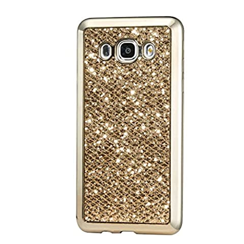 Samsung Galaxy J1 ACE TPU Silicone Case by MUTOUREN Clear transparent Bumper TPU Soft Case Rubber tpu Silicone Skin Cover Case Luxury Shinning Crystal Rhinestone Sparkle Silicone Frame Protective Case-gold