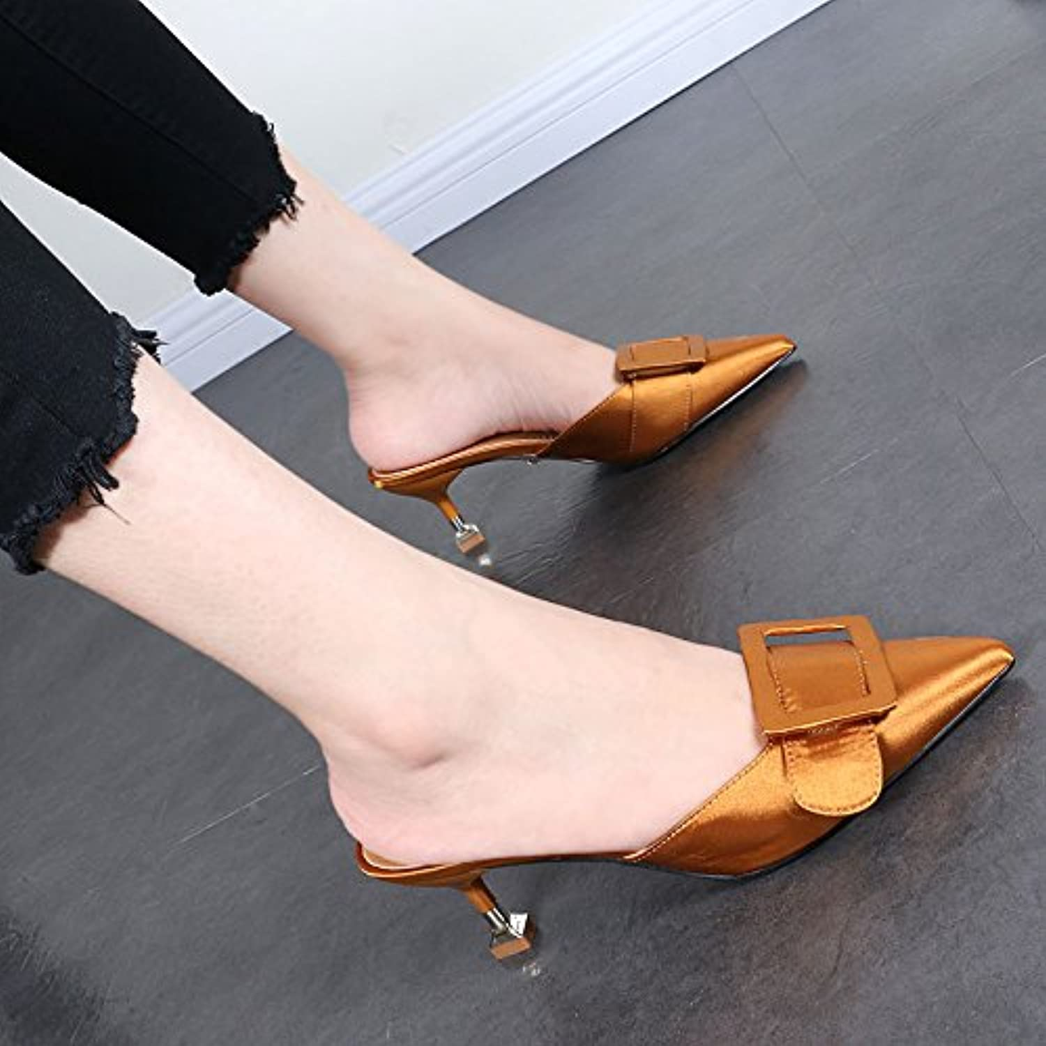 95ff35ef326ca8 KPHY-The KPHY-The KPHY-The Summer And Fall Into 6Cm High Heeled Slotted Tip  Leather Buckle Fine With Sandals Light Baotou With Semi.