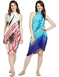 SOURBH Women's Faux Georgette Beach Wear Wrap Combo of 2 Sarong Floral Printed Pareo Swimsuit Cover up (S120_Sky Blue,Cream & Pink)