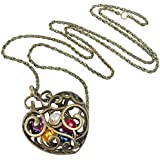 eFuture(TM) Bronze&Colorful Pearl Gold Plated Heart Pendant Long Necklace Sweater Chain With Keyring