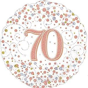 OakTree 227161 - Globo de 70 cumpleaños (45,7 cm), color blanco y oro rosa