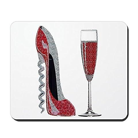CafePress–Glitzer Rot Korkenzieher Stiletto und Champagner Glas–rutschfeste Gummi Mauspad, Gaming Maus (Effect Champagne)