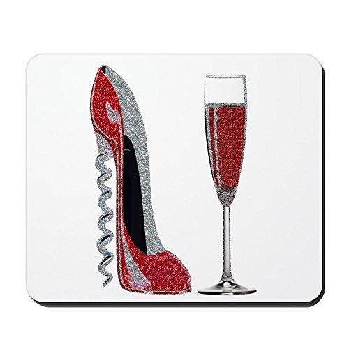 CafePress-Glitzer Rot Korkenzieher Stiletto und Champagner Glas-rutschfeste Gummi Mauspad, Gaming Maus Pad