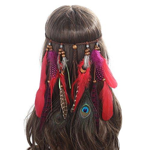 AWAYTR Jahrgang Feder Stirnband Indisch Kopfschmuck Boho Hippie Perlen Maskerade Schick Kleid Haar Zubehör Zum Frau Mädchen (Indische Hippie Kostüm)